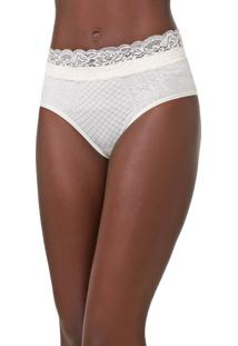 Calcinha Lupo Hot Pant Renda Off-White
