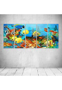 Quadro Decorativo - Fish Corals Underwater Ocean Tropical - Composto De 5 Quadros