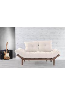 Sofá Cama Futon Country Comfort Off White 190X80X83 Cm - Acabamento Nogueira Tec.003 Linen Soft Off White