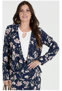 Blazer Feminino Estampa Floral Marisa