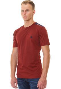 Camiseta Burberry Masculina London England Detail Tartan Bordo