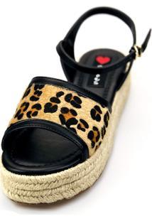 Avarca Espadrille Love Shoes Anabela Plataforma Corda Sandália Onça