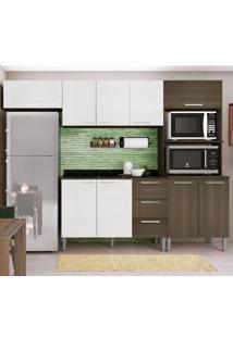 Cozinha Compacta 9 Portas 3 Gavetas Bia 0428T Castanho/Branco - Genialflex