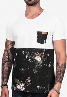 Camiseta Meio A Meio Algodão Masculina - Masculino