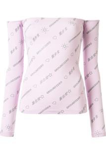 Ground Zero Blusa Ombro A Ombro Com Estampa De Logo - Rosa