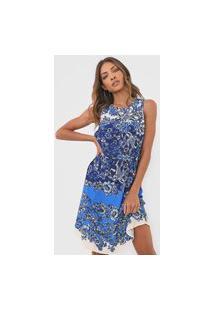 Vestido Desigual Curto Atenas Azul/Bege