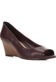 Peep Toe Couro Shoestock Anabela Salto Médio - Feminino-Vinho
