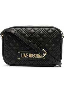 Love Moschino Quilted Logo Crossbody Bag - Preto