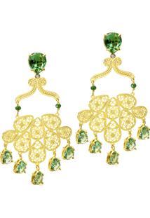 Brinco Arabesco Semijoia Banho De Ouro 18K Cristal Verde