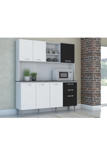 Cozinha Compacta Nápole 7 Portas Linho Branco/Preto - Kits Paraná