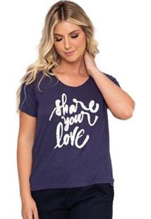 Camiseta Simone Saga Share Your Love Bordado Feminina - Feminino-Marinho