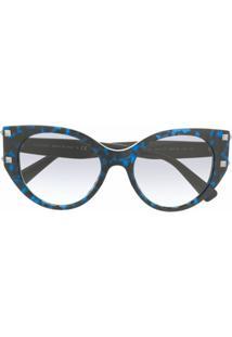 Valentino Eyewear Óculos De Sol Gatinho Rockstud - Azul
