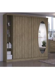 Guarda Roupa Casal Com Espelho 2 Portas E Prateleiras Em Vidro F537 Kappesberg Nogal