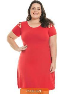 Vestido Evasê Liso Vermelho