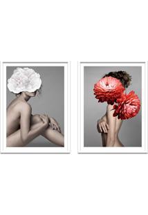 Quadro 67X100Cm Idálina Mulher Com Flores Branca E Vermelha Nórdico Moldura Branca Com Vidro