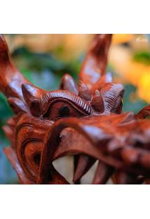 Escultura Dragão Em Madeira 23Cm   Bali
