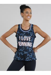 Regata Feminina Esportiva Ace Estampada Camuflada Decote Nadador Azul Petróleo