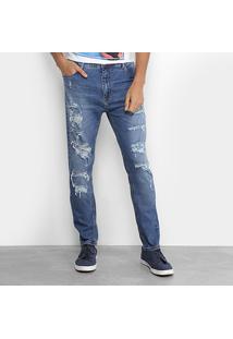 Calça Jeans Slim Coca-Cola New Carrot Destroyed Cintura Média Masculina - Masculino-Azul