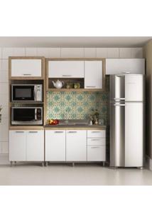 Cozinha Compacta Multimóveis Toscana 8 Portas E 3 Gavetas - Argila/Branco