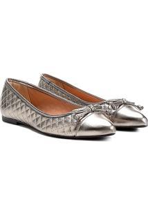 Sapatilha Shoestock Matelassê Bico Fino Feminina - Feminino-Chumbo