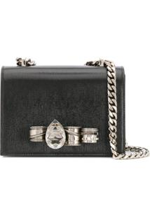 Alexander Mcqueen Bolsa Transversal 'Mechanical Jewelled' - Preto