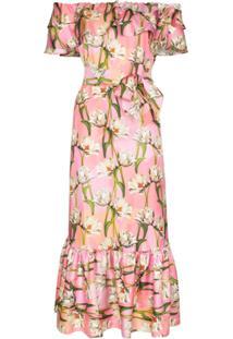 Borgo De Nor Vestido Midi Ombro A Ombro Floral - Rosa