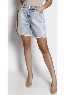 Bermuda Jeans Com PuãDos- Azul- Maria Valentinamaria Valentina
