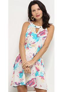 Vestido Curto Jin Recorte Amarração Floral - Feminino-Branco+Azul