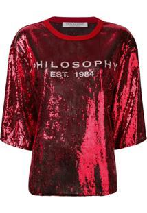 Philosophy Di Lorenzo Serafini Blusa Com Aplicações E Logo - Vermelho