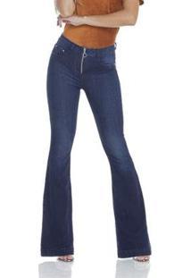 Calça Jeans Denim Zero Flare Abertura De Zíper Feminino - Feminino