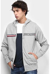 Jaqueta Moletom Tommy Hilfiger Logo Zip Hoody Masculino - Masculino-Cinza