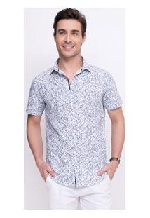 Camisa Slim Floral Em Tricoline