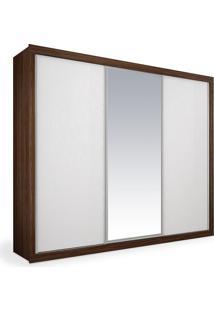Armário 3 Portas De Correr Com Espelho, Ipê Com Branco, Premium Plus 2,46M