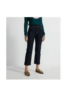 Calça Reta Jeans Com Bordado De Coração No Bolso Traseiro