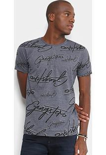 Camiseta Gangster Estampada Manga Curta Masculina - Masculino-Grafite