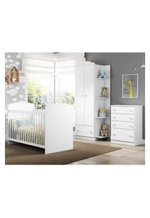 Quarto Infantil Completo Joáo E Maria Multimóveis Branco/Colorido Com Berço + Guarda Roupa 2 Portas Branco