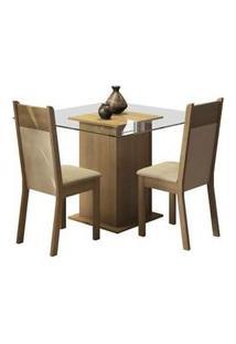 Conjunto Sala De Jantar Madesa Moni Mesa Tampo De Vidro Com 2 Cadeiras Rustic/Crema/Pérola Rustic