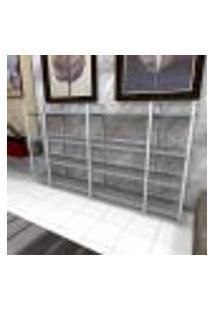 Aparador Industrial Aço Cor Branco 180X30X98Cm (C)X(L)X(A) Cor Mdf Cinza Modelo Ind57Capr