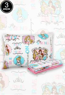 Jogo De Cama 3Pçs Solteiro Santista Infantil Disney Princess Power Rosa