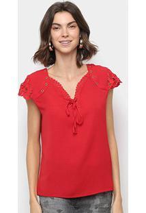 Blusa Ms Fashion Detalhe Renda Amarração Feminina - Feminino-Vermelho