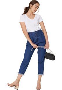Calça Jeans Slim Recorte E Pregas