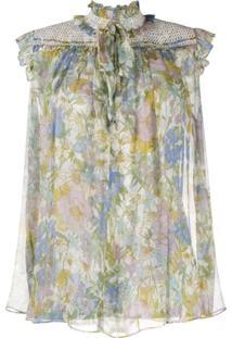 Zimmermann Blusa Verde Com Estampa Floral