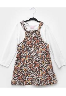 Vestido Quimby Salopete Molecotton Animal Print Onça - Feminino-Marrom