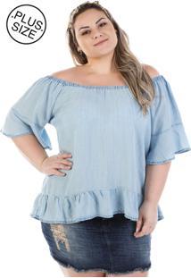 Blusa Plus Size - Confidencial Extra Jeans Ciganinha Molly Flare