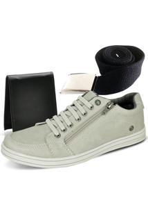 Kit Tênis Ousy Shoes Carteira Cinto Marfim