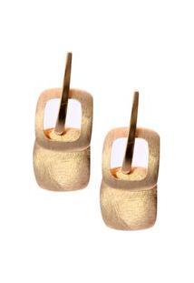 Brinco Smm Acessorios Quadrados Fosco Dourado