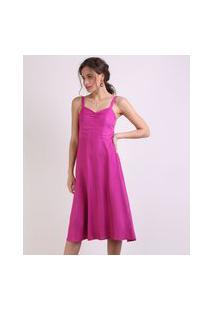 Vestido Feminino Midi Alça Média Rosa Escuro