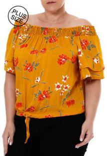 Blusa Manga Curta Ciganinha Plus Size Feminina Amarelo