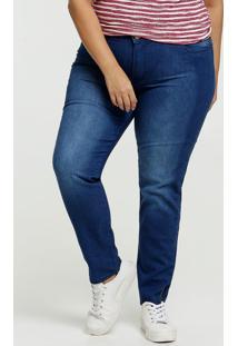 Calça Jeans Skinny Feminina Barra Zíper Plus Size