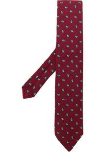 Etro Gravata Com Bordado Paisley - Vermelho
